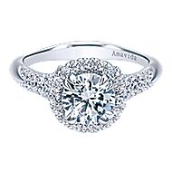 Shimmer 18k White Gold Round Halo Engagement Ring angle 1