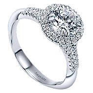 Shimmer 18k White Gold Round Halo Engagement Ring angle 3