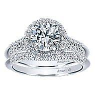 Shimmer 18k White Gold Round Halo Engagement Ring angle 4