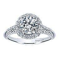 Shimmer 18k White Gold Round Halo Engagement Ring angle 5