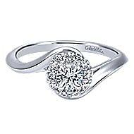Shine 14k White Gold Round Halo Engagement Ring angle 1