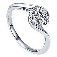 Shine 14k White Gold Round Halo Engagement Ring angle 3