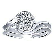 Shine 14k White Gold Round Halo Engagement Ring angle 4