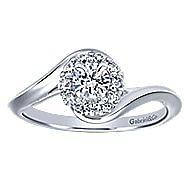 Shine 14k White Gold Round Halo Engagement Ring angle 5
