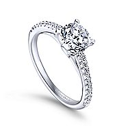 Sienna 14k White Gold Round Straight Engagement Ring angle 3