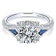 Silk 18k White Gold Round 3 Stones Engagement Ring angle 1