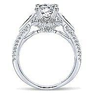 Silk 18k White Gold Round 3 Stones Engagement Ring angle 2