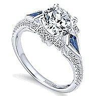 Silk 18k White Gold Round 3 Stones Engagement Ring angle 3