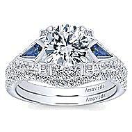 Silk 18k White Gold Round 3 Stones Engagement Ring angle 4
