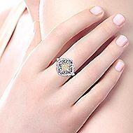 Silver/18K Y.G Diamond Ring