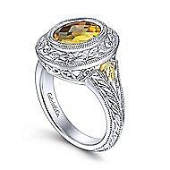 Silver-18K Yellow Gold Fashion Ladies' Ring
