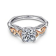 Silvia 18k White And Rose Gold Round Twisted Engagement Ring angle 1