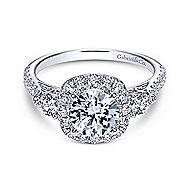 Siobhan 14k White Gold Round 3 Stones Halo Engagement Ring angle 1