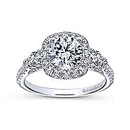 Siobhan 14k White Gold Round 3 Stones Halo Engagement Ring angle 5