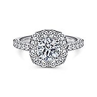 Skylar 14k White Gold Round Halo Engagement Ring angle 1