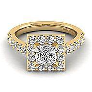 Skylar 14k Yellow Gold Princess Cut Halo Engagement Ring angle 1