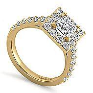 Skylar 14k Yellow Gold Princess Cut Halo Engagement Ring angle 3