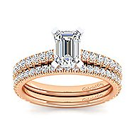 Sloane 14k White And Rose Gold Emerald Cut Straight Engagement Ring angle 4