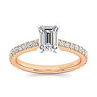 Sloane 14k White And Rose Gold Emerald Cut Straight Engagement Ring angle 5
