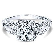 Smitten 14k White Gold Cushion Cut Double Halo Engagement Ring angle 1