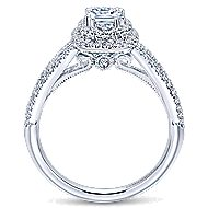Smitten 14k White Gold Cushion Cut Double Halo Engagement Ring angle 2