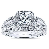 Smitten 14k White Gold Cushion Cut Double Halo Engagement Ring angle 4