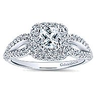 Smitten 14k White Gold Cushion Cut Double Halo Engagement Ring angle 5