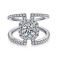 Soleil 14k White Gold Round Halo Engagement Ring angle 1