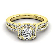Sonya 14k Yellow Gold Cushion Cut Halo Engagement Ring angle 1