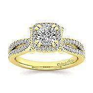 Sonya 14k Yellow Gold Cushion Cut Halo Engagement Ring angle 5