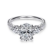 Sookie 14k White Gold Oval 3 Stones Engagement Ring angle 1