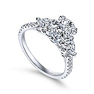 Sookie 14k White Gold Oval 3 Stones Engagement Ring angle 3