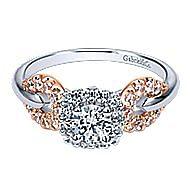 Spirit 14k White And Rose Gold Round Halo Engagement Ring angle 1