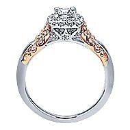 Spirit 14k White And Rose Gold Round Halo Engagement Ring angle 2