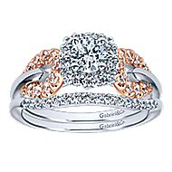 Spirit 14k White And Rose Gold Round Halo Engagement Ring angle 4