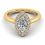 Stacy 14k Yellow Gold Marquise  Halo Engagement Ring angle 1