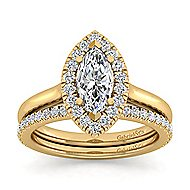 Stacy 14k Yellow Gold Marquise  Halo Engagement Ring angle 4