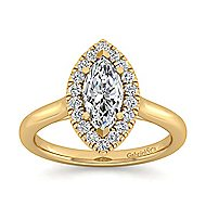 Stacy 14k Yellow Gold Marquise  Halo Engagement Ring angle 5