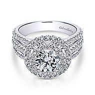 Starla 14k White Gold Round Double Halo Engagement Ring angle 1