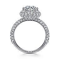 Stellar 18k White Gold Round Double Halo Engagement Ring angle 2