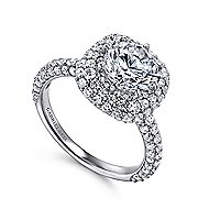 Stellar 18k White Gold Round Double Halo Engagement Ring angle 3