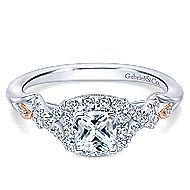 Surge 14k White And Rose Gold Cushion Cut Halo Engagement Ring angle 1