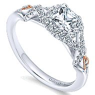 Surge 14k White And Rose Gold Cushion Cut Halo Engagement Ring angle 3