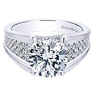 Sutter 18k White Gold Round Straight Engagement Ring angle 1