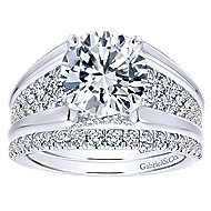 Sutter 18k White Gold Round Straight Engagement Ring angle 4
