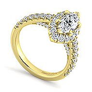Sutton 14k Yellow Gold Marquise  Halo Engagement Ring angle 3