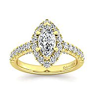 Sutton 14k Yellow Gold Marquise  Halo Engagement Ring angle 5
