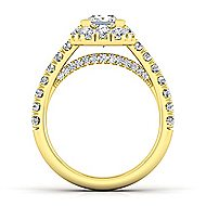 Sutton 14k Yellow Gold Princess Cut Halo Engagement Ring angle 2
