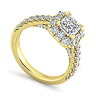 Sutton 14k Yellow Gold Princess Cut Halo Engagement Ring angle 3