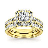 Sutton 14k Yellow Gold Princess Cut Halo Engagement Ring angle 4